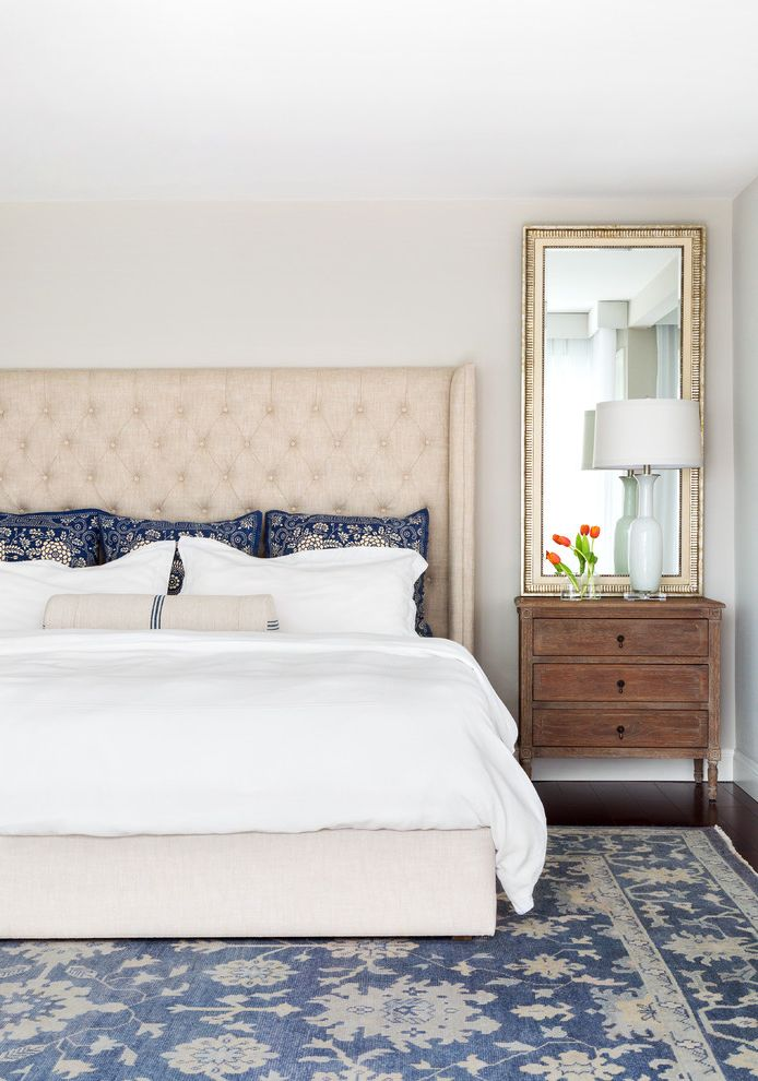 Thin Night Stands with Beach Style Bedroom  and Blue and White Tall Mirror Tufted Headboard White Lamp Woven Area Rug