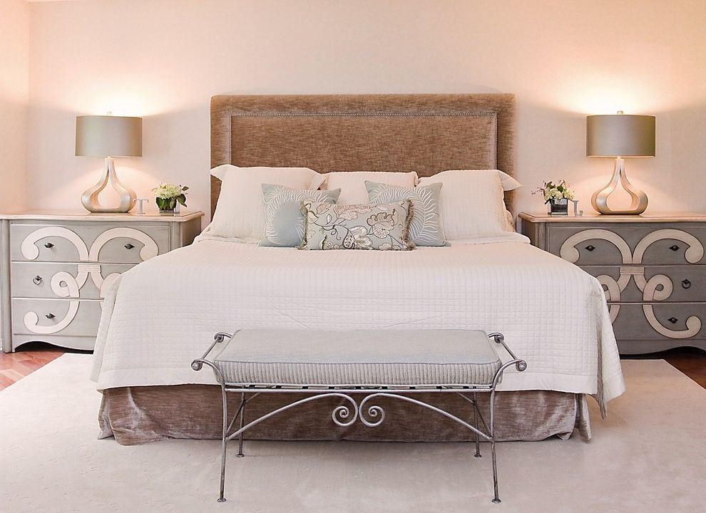 Thin Night Stands with Traditional Bedroom Also Area Rug Bed Pillows Bedroom Bench Bedside Table Foot of the Bed Neutral Tones Nightstand Symmetry Table Lamp Upholstered Bench Upholstered Headboard White Bedspread