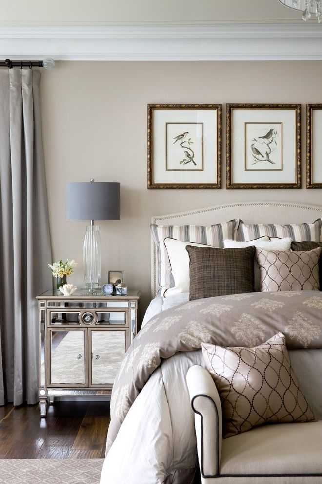 Thin Night Stands with Traditional Bedroom  and Bedroom Bench Crown Molding Mirrored Furniture Nailhead Detail