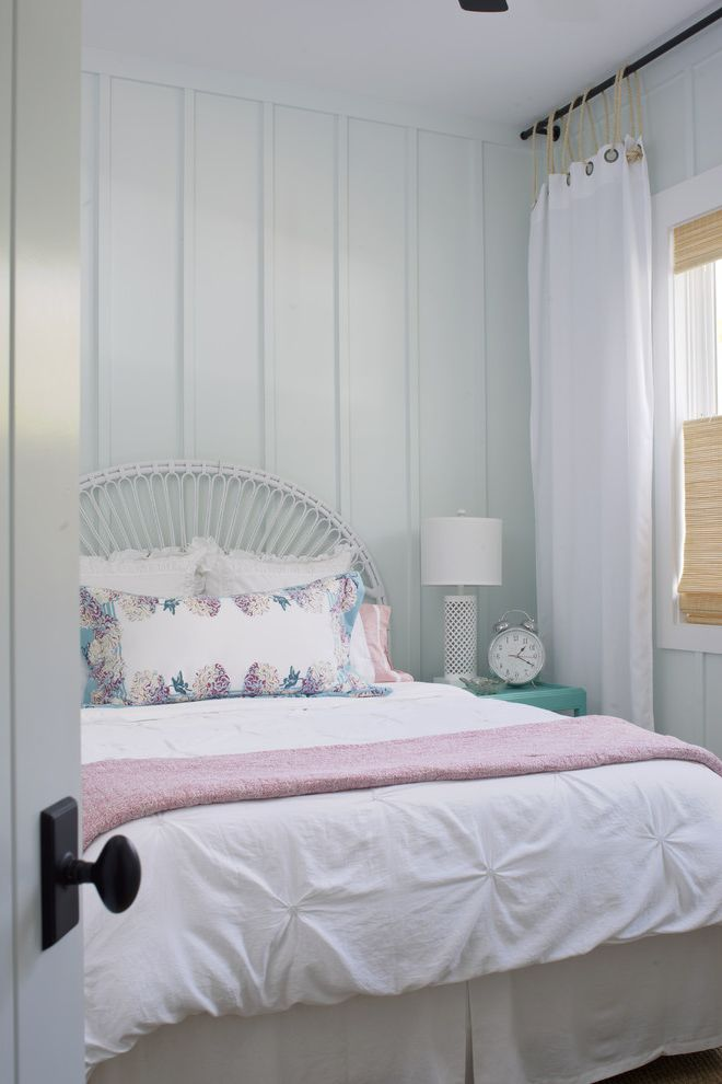 Thin Sheetrock with Shabby Chic Style Bedroom  and Alarm Clock Board and Batten Grommet Curtain Panel Night Stand Pillows Siding White Duvet Wicker Bed Woven Roman Shade