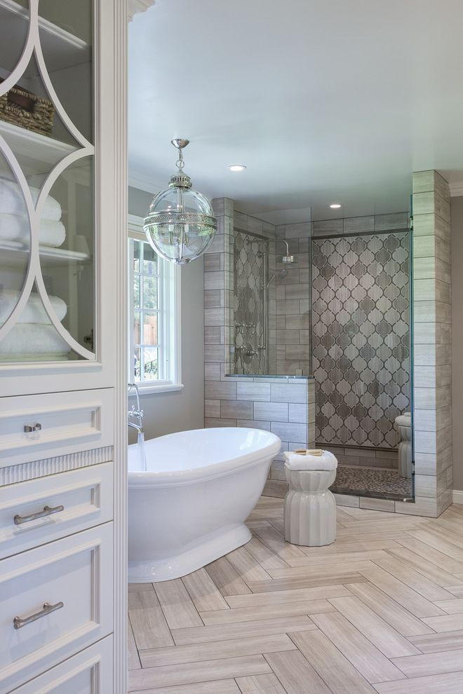 Thompson Building Supply   Traditional Bathroom Also Arabesque Arabesque Tile Bathroom Feature Feature Wall Glass Pendant Light Herringbone Herringbone Floor Herringbone Pattern Light Gray Natural Stone Natural Stone Plank Plank White Stool