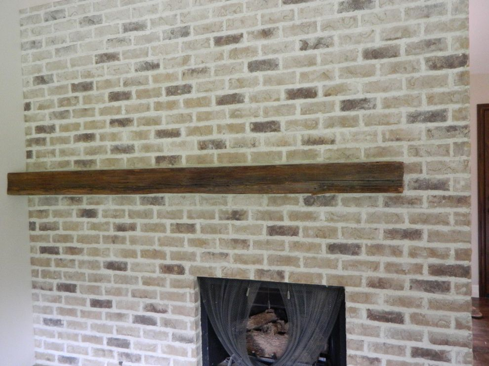 Thompson Building Supply   Traditional Family Room  and Brick Fireplace Reclaimed Wood Mantel