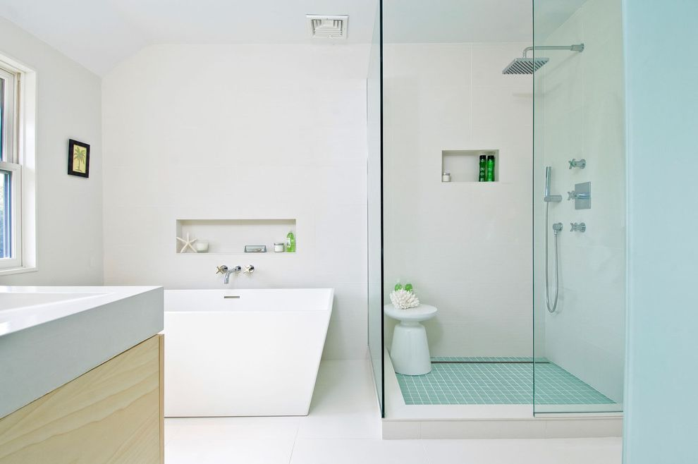 Thrift Drain Cleaner   Contemporary Bathroom  and Freestanding Bathtub Glass Shower Enclosure Natural Wood Niche Square Shower Head Tile Floor Vanity White Counter White Walls