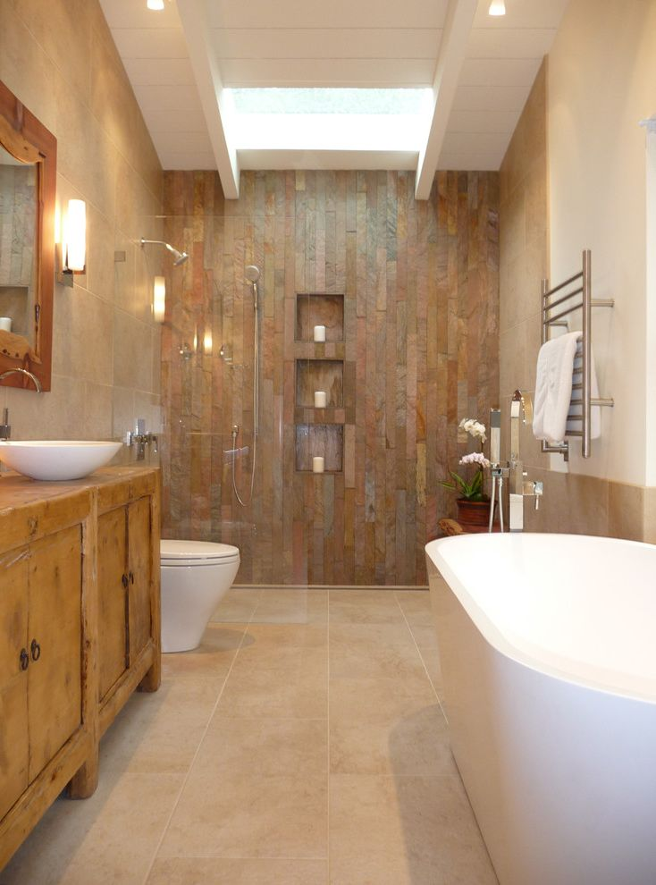 Thrift Drain Cleaner   Rustic Bathroom Also Antique Bench Cladding Curbless Shower Freestanding Tub Live Edge Niches Open Shower Quartzite Redwood Resin Rustic Warm