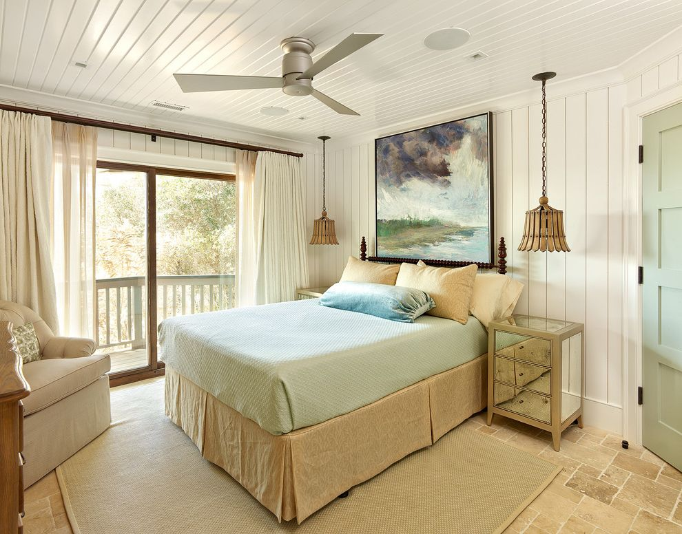 Tiffany Style Ceiling Fan   Beach Style Bedroom Also Bed Skirt Beige Ceiling Fan Ceiling Mounted Bedside Lights Light Green Accents Mirrored Furniture Sisal Rug Sliding Glass Door Stone Floor Tile White Curtains