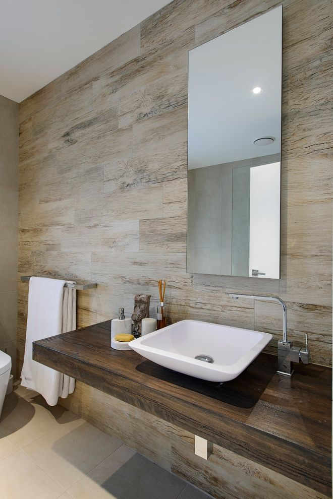 Tile America New Haven   Contemporary Bathroom  and Bathroom Dark Stained Wood Floating Vanity Frameless Mirror Neutral Recycled Timber Textures Tile Floor Timber Look Tiles Timber Vanity Towel Rack Vessel Sink Weathered Wood Wood Wall