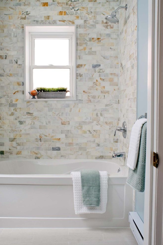 Tile America New Haven with Contemporary Bathroom  and Blue Chrome Frosted Glass Marble Marble Tile Soaking Tub Subway Tile Tile Floor Waffle Weave White Painted Trim Window Ledge