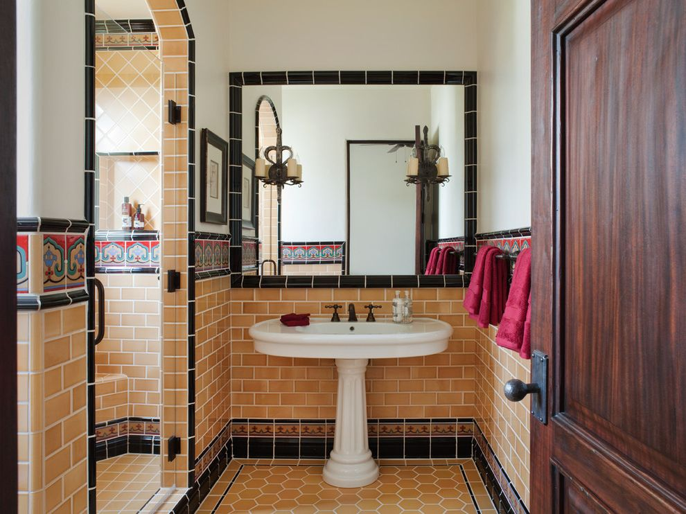Tile America New Haven with Mediterranean Bathroom Also Black Tile Trim Colorful Tile Hexagon Floor Tile Patterned Tile Spanish Revival Tile Border Wall Sconces Widespread Faucet