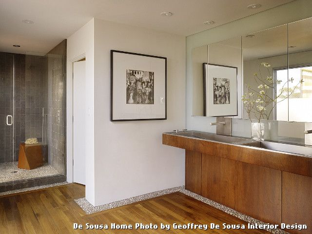Tile and Wood Floor Combination with Contemporary Bathroom and Contemporary