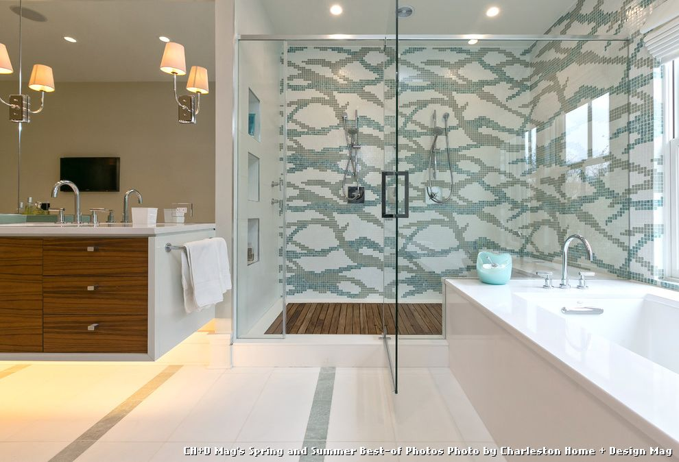 Tile and Wood Floor Combination with Contemporary Bathroom and Floating Vanity Glass Shower Niche Spa Bath Teak Shower Floor Tile Pattern Tile Shower Toe Kick Lighting Wall Mirror Wall Sconces