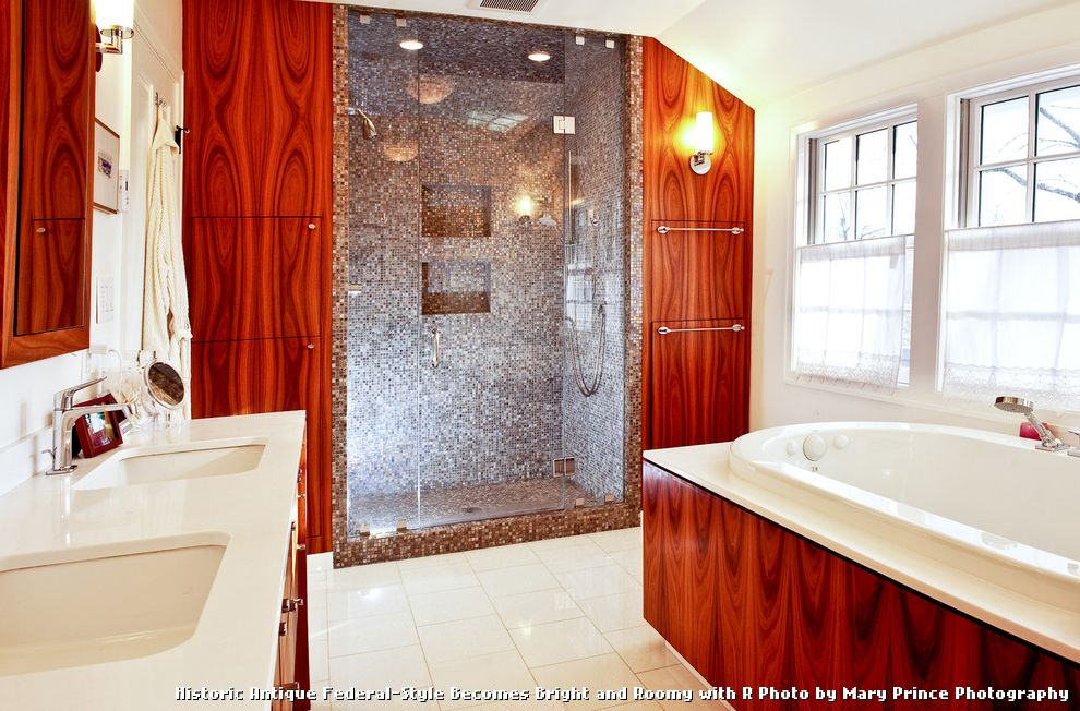 Tile and Wood Floor Combination with Traditional Bathroom and Bath Built in Storage Cabinets Caesar Stone French Windows Glass Door Rosewood Veneer Stone Tile Tile Tiled Shower Tub Vanity Veneer Wall Wall Wood Wall