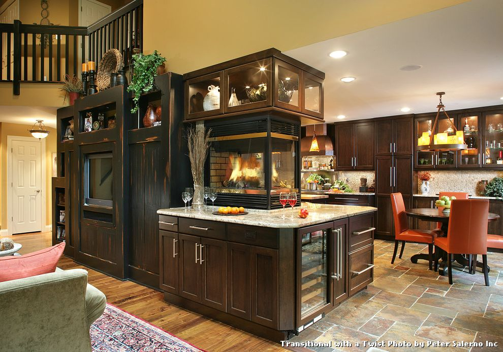 Tile and Wood Floor Combination with Transitional Kitchen and Built in Media Unit Chandelier Countertop Fireplace Fireplace Recessed Lighting Two Sided Fireplace Wine Refrigerator