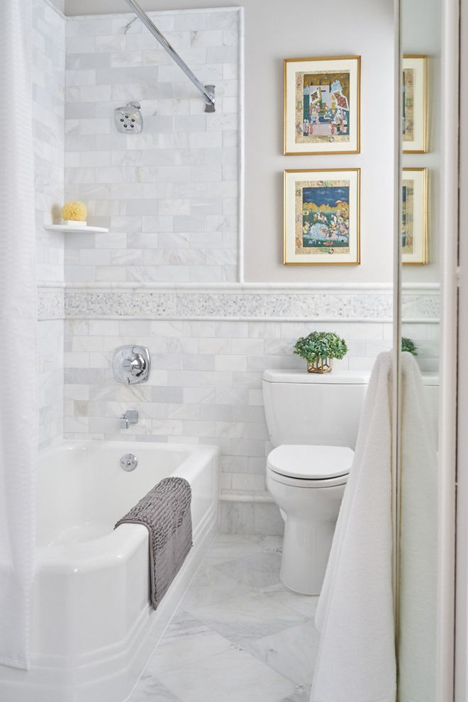 Tile Market of Delaware   Traditional Bathroom Also Accent Tile Band Framed Art Pencil Rail Tile Wainscoting White Floor Tile