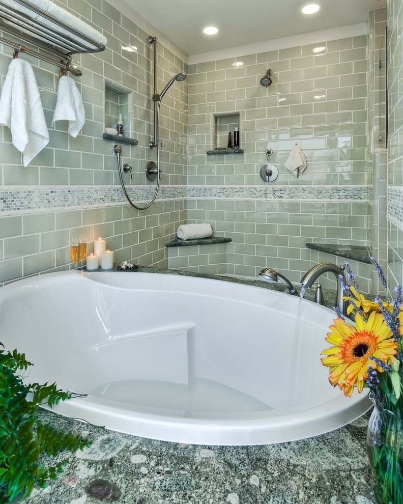 Tile Market of Delaware with Contemporary Bathroom Also Accent Tile Brushed Nickel Garden Tub Granite Shelf Granite Ub Surround Gray Tile Green Tile Mini Subway Tile Nice Shower Niche Subway Tile Towel Bar Towel Rack Tubshower