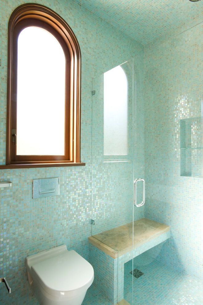 Tile Market of Delaware with Mediterranean Bathroom  and Arch Window Glass Tile Metallic Tile Mosaic Tile Pool House Bath Shimmer Shower Bench Wall Hung Toilet Wood Window Trim