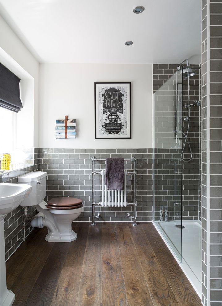 Tile Market of Delaware with Traditional Bathroom  and Bathroom Metro Tiles Bathroom Radiator Bathroom Tiles Grey Metro Tiles Grey Tiles Heated Towel Rail Metro Tiles Shower Screen Toilet Walk in Shower White and Grey Wooden Bathroom Floor