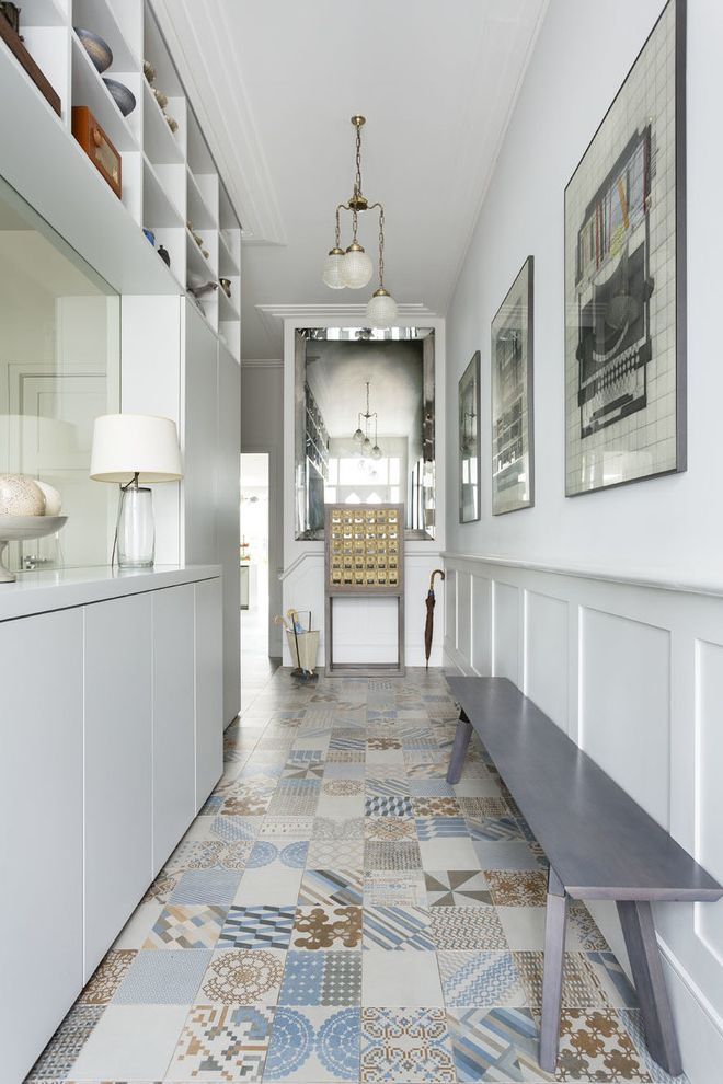 Tile Market of Delaware with Transitional Hall Also Bench Seating Bespoke Gray Wainscoting Light Modern Recessed Lighting Wall Floor Tiles Wall Art Wall Mirrors