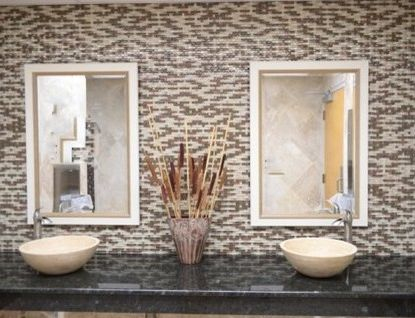 Tile Outlets of America   Traditional Bathroom  and Glass Mosaic Travertine Travertine Vessel Sink Dimensional Mosaic Wave Mosaic