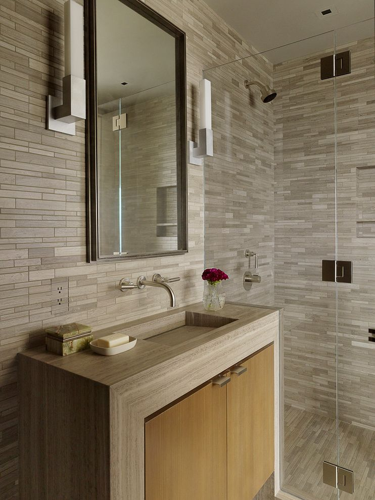Tile Outlets of America with Contemporary Bathroom Also Built in Sink Cabinet Glass Shower Panel Gray Mirror Modern Bathroom Niche Sutro Architects Tile Walls Vanity Wall Mount Faucet Wall Sconce Wood Vanity Doors