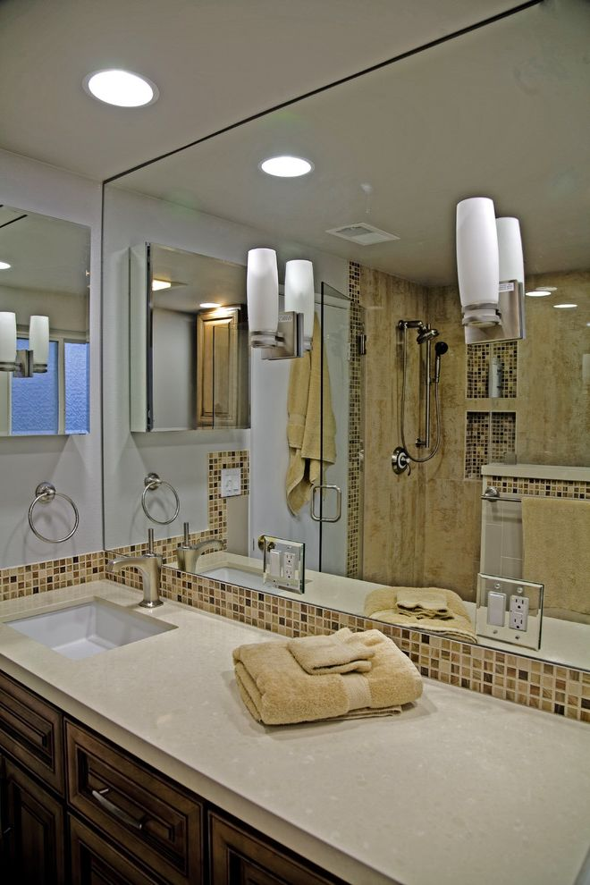 Tile Outlets of America with Contemporary Bathroom  and Bathroom Mirror Ceiling Lighting Earth Tone Colors Medicine Cabinets Mosaic Tiles Recessed Lighting Sconce Tile Backsplash Towel Ring Wall Lighting Wood Cabinets