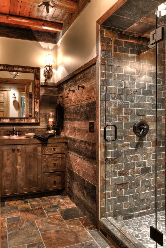Tile Shop Chicago   Rustic Bathroom  and Beams Brown Floor Tile Cabin Cottage Frameless Shower Glass Lake Home Lodge Log Beams Log House Recessed Lighting Rustic Lighting Wall Sconces Widespread Faucet Wood Ceiling Wood Floors