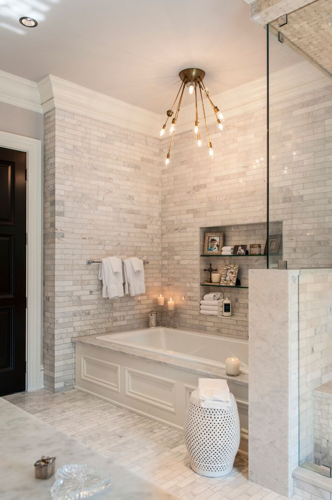 Tile Shop Chicago   Transitional Bathroom  and Ceramic Garden Stool Glass Shelves Marble Floor Master Suite Modern Ceiling Lighting Niche Spa Bathroom Towel Bar