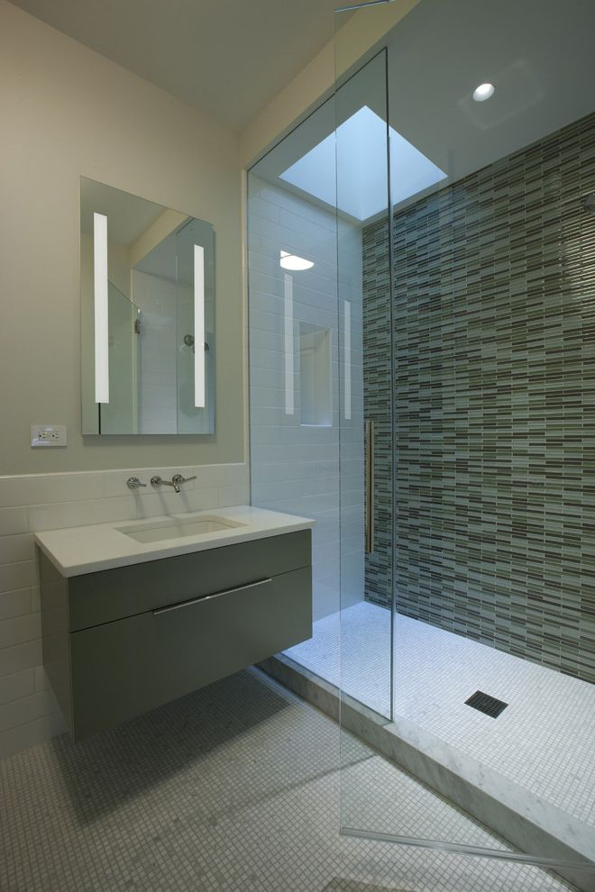 Tile Shop Chicago with Contemporary Bathroom  and Floating Sink Glass Shower Glass Tile Lighted Mirror Cabinet Marble Curb Minimalist Modern Mosaic Tile Recessed Light Sky Light Wall Mount Faucet