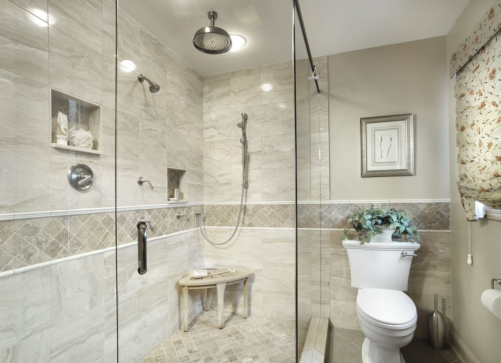 Tile Shop Chicago with Traditional Bathroom  and Alcove Cubby Glass Shower Enclosure Roman Shade Shower Corner Bench Tile