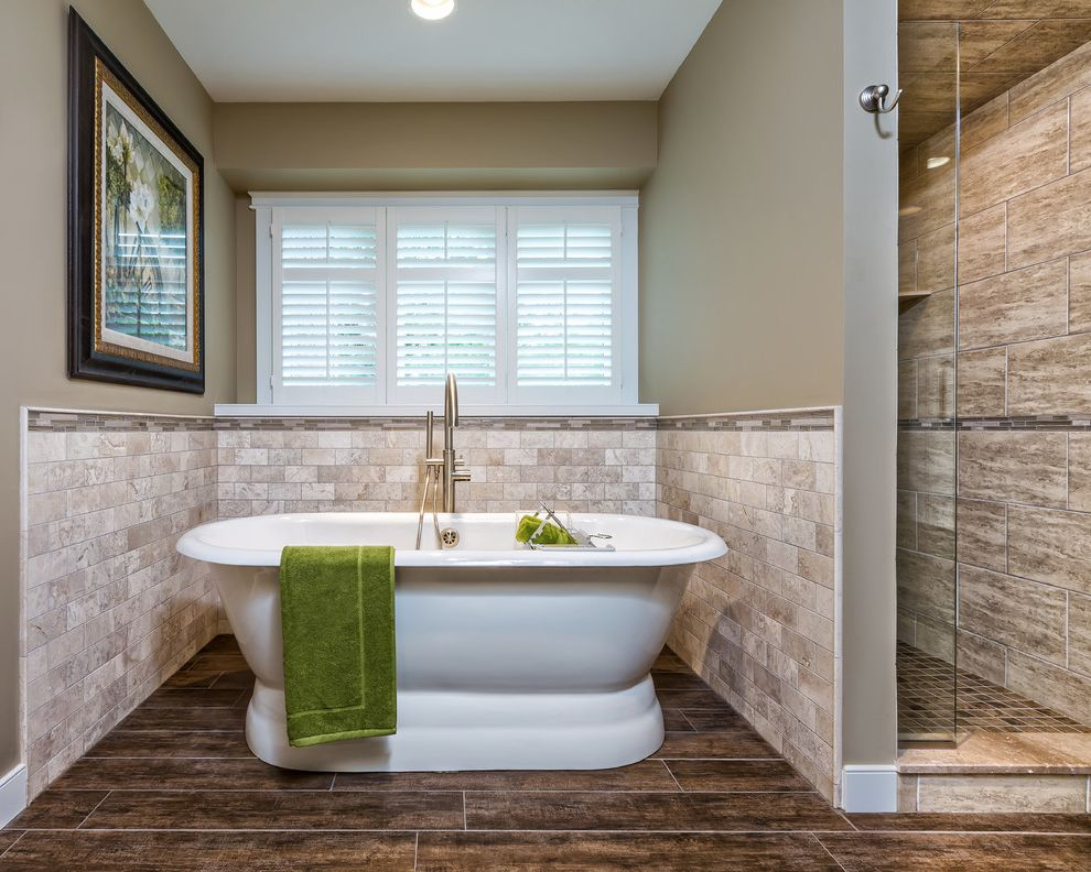 Tile Shop Chicago with Transitional Bathroom  and Bathroom Beige Paint Free Standing Tub Glass Mosaics Gray Walls Pedestal Bathtub Plantation Shutters Porcelain Tile Stone Tile Subway Tile Towel Hook Travertine Wood Tile