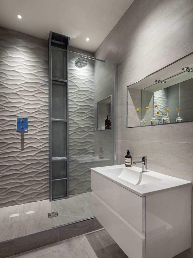 Tile Stores Orlando   Contemporary Bathroom  and Bespoke Lighting Clean Lines Exposed Steel Girder Mirrored Recess Shelf Niches Textured Tile Wave Tile Wide Drawer Vanity Unit