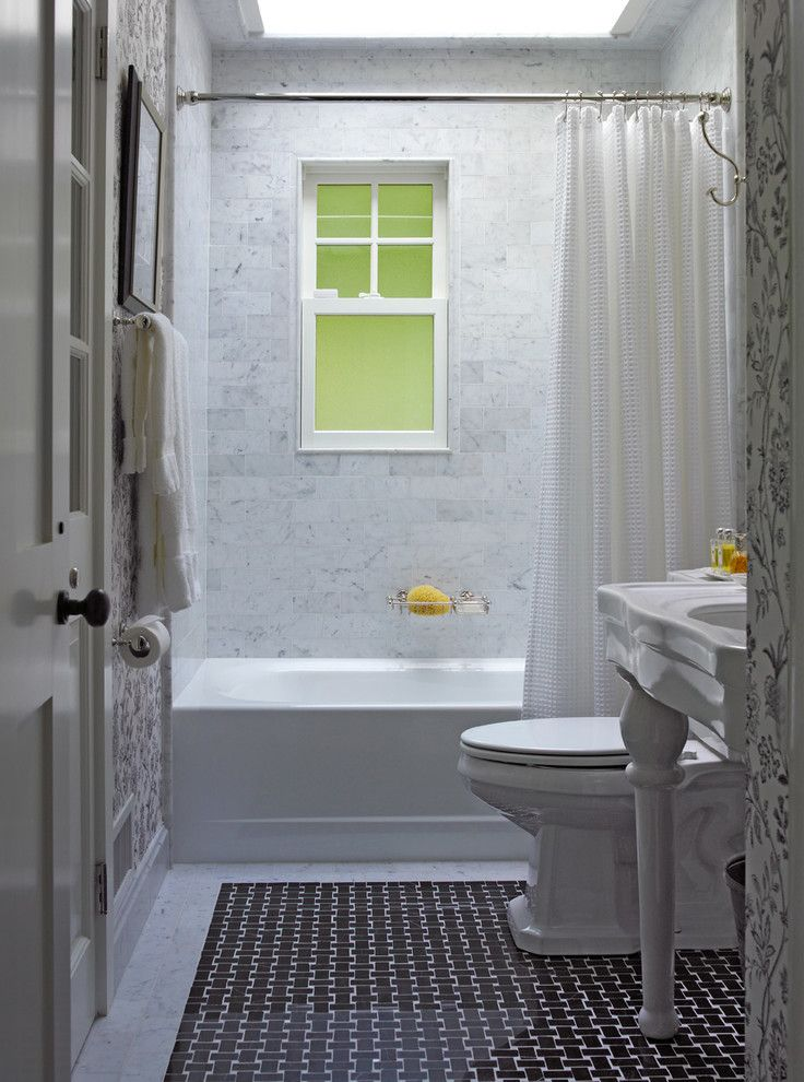 Tile Stores Rochester Ny with Farmhouse Bathroom  and Built in Closet Patterned Wallpaper Sky Light Over Tub Textured Subway Tile Waterworks Fixtures Waterworks Stone and Mosaic Floor White Bathroom