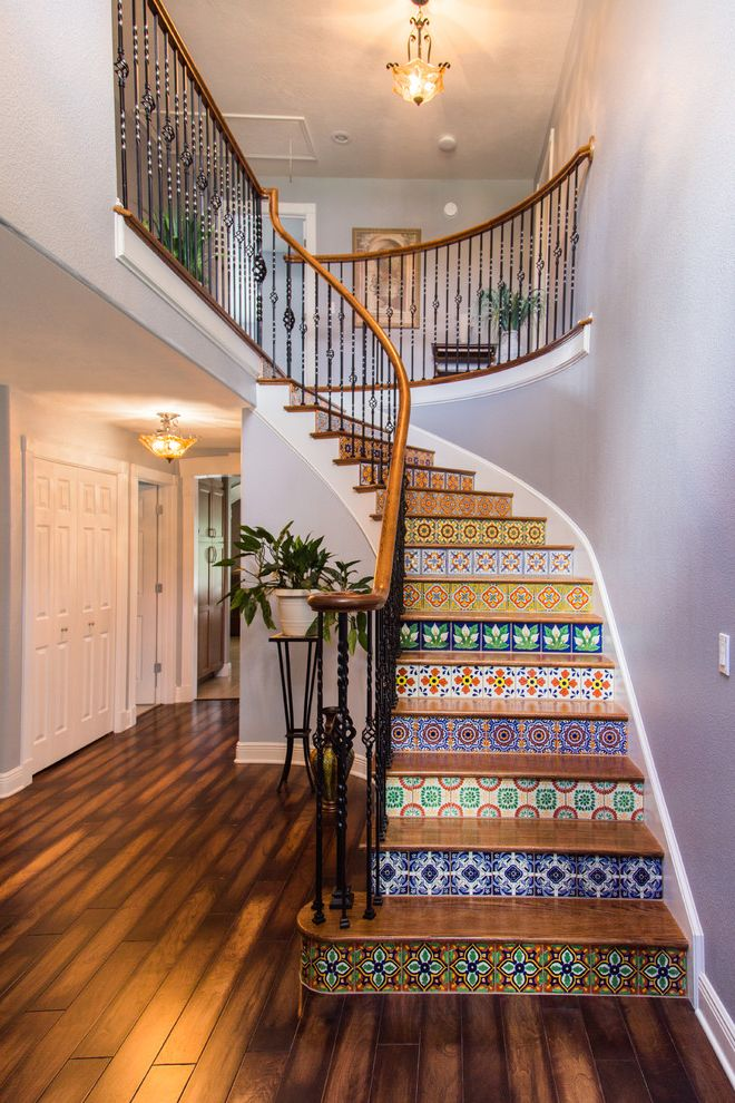Tile Stores Rochester Ny with Mediterranean Staircase  and Colorful Tile Staircase Entryway Grand Entrance Lilac Walls Mexican Tile Oak Stairs Stairs Wood Floor Wood Handrail