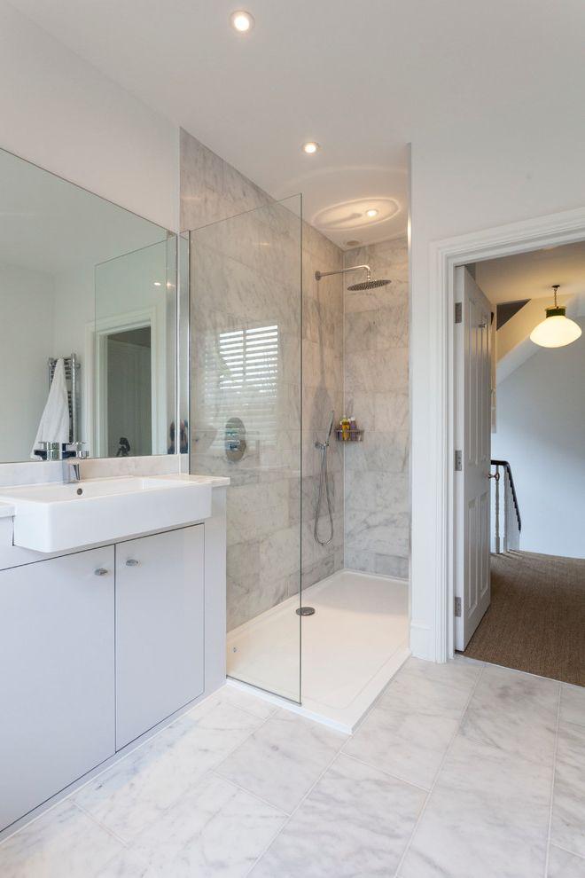 Tileable Shower Base   Contemporary Bathroom  and Frameless Shower Glass Handshower Open Shower Rainshower Head Recessed Lighting Wet Room Wet Rooms Wetroom White Countertop White Floor Tile