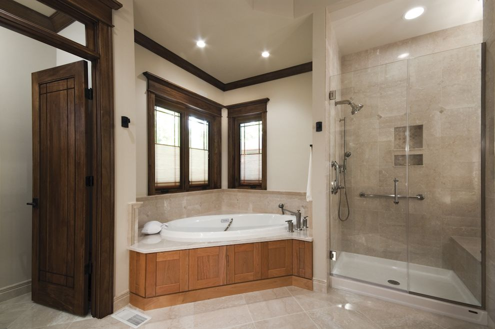 Tileable Shower Base   Traditional Bathroom  and Corner Windows Crown Molding Frameless Shower Glass Shower Recessed Lighting Soaking Tub Tile Flooring Transom Tub Surround Wood Trim