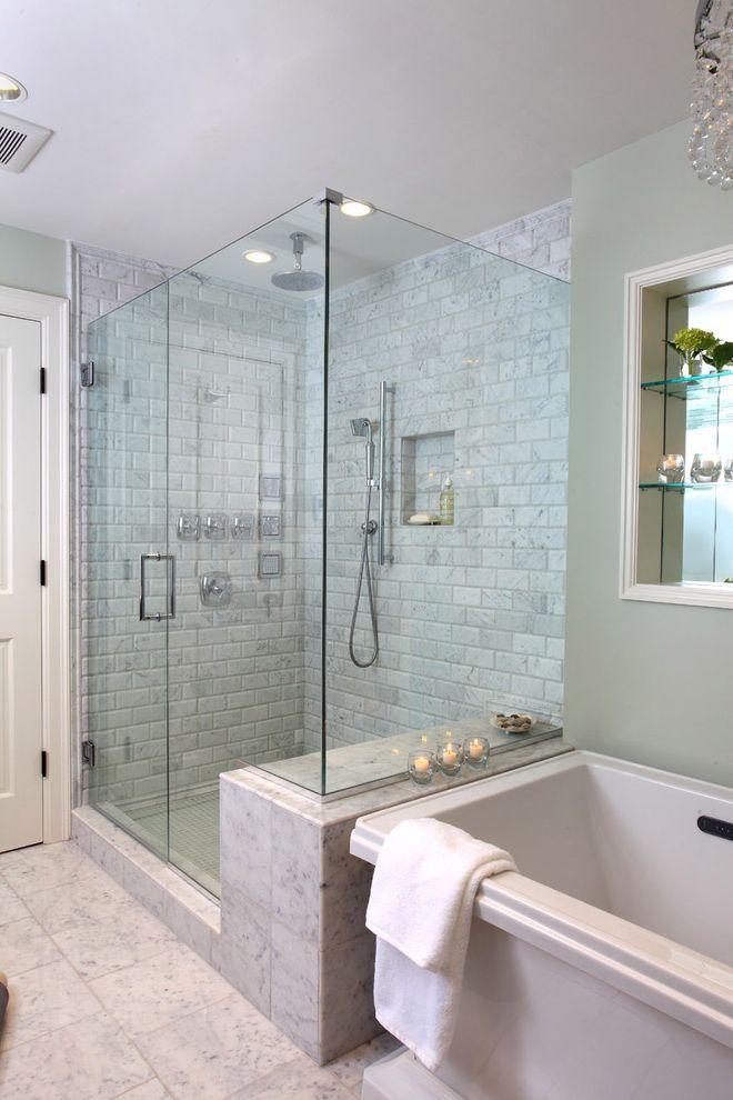Tileable Shower Base with Traditional Bathroom  and Bath Frameless Glass Shower Glass Shower Marble Shower Soaker Tub Stone Tile Tile Tiled Floor Tiled Shower Tiled Wall