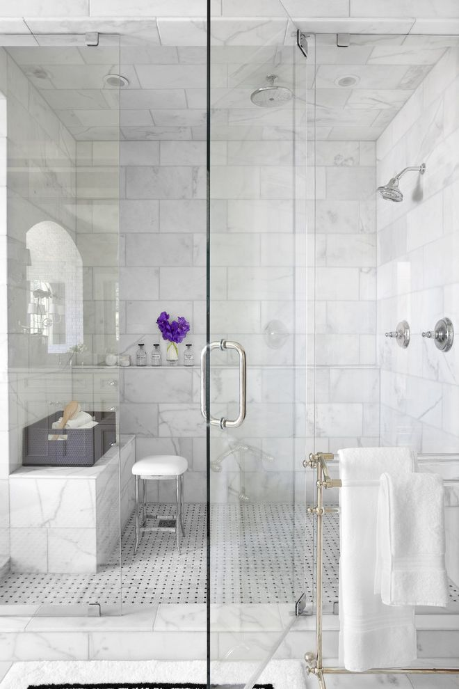 Tileable Shower Base with Traditional Bathroom  and Glass Shower Door Marble Walls Metal Towel Rack Rainfall Shower Head Shower Bench Shower Stool Silver Hardware Storage Ledge Tile Floor