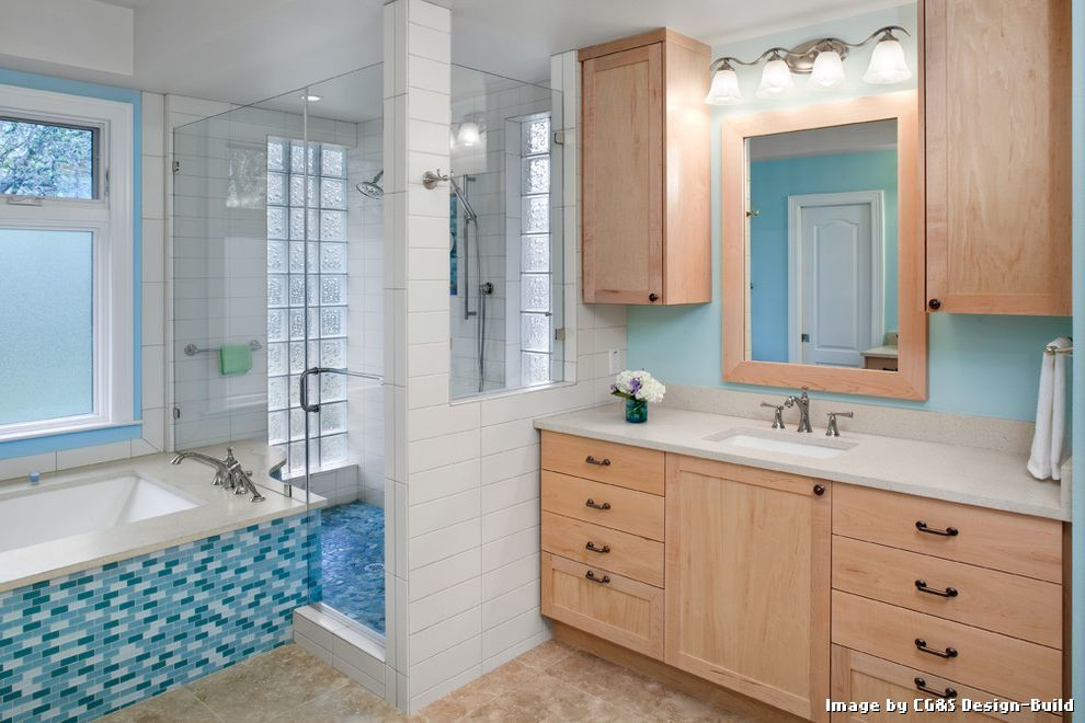Tiling a Shower Floor or Wall First with Contemporary Bathroom and Aqua Bathroom Lighting Blue Blue Bathroom Blue Walls Glass Block Glass Partition Mini Subway Tiles Shower Tile Shower Window Tile Tile Tub Surround