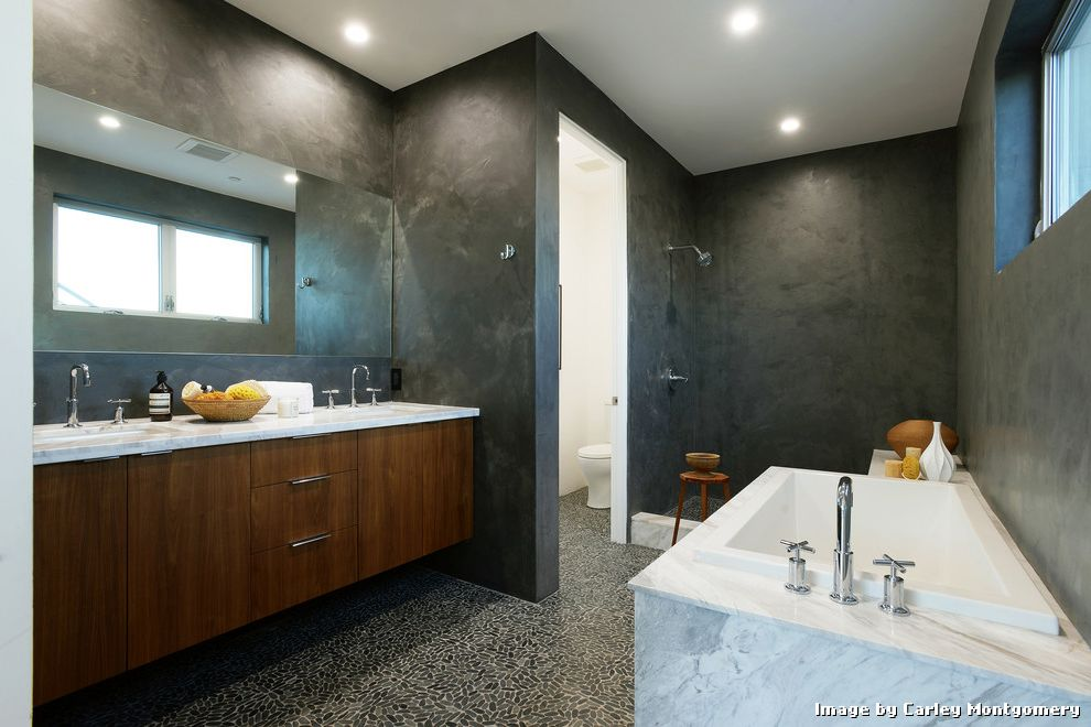 Tiling a Shower Floor or Wall First with Contemporary Bathroom and Cement Walls His and Hers Recessed Lighitng Stone Pebble Flooring