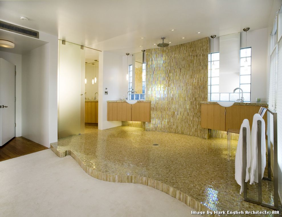 Tiling a Shower Floor or Wall First with Contemporary Bathroom and His and Hers Sinks His and Hers Vanity Iridescent Tile Tile Tile Wall