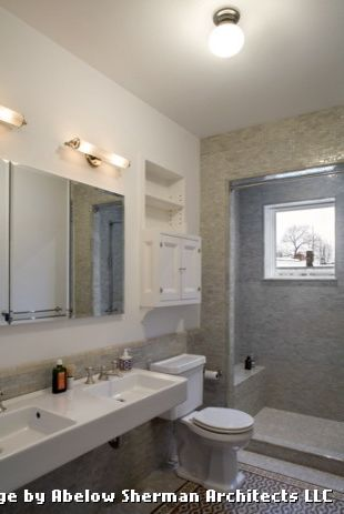 Tiling a Shower Floor or Wall First with Eclectic Bathroom and Bath Lighting Bathroom Chrome Fixtures Contemporary Faucet Mirror Modern Mosaic Shower Sink Square Sink Tap Tile Toilet Wall Sconce