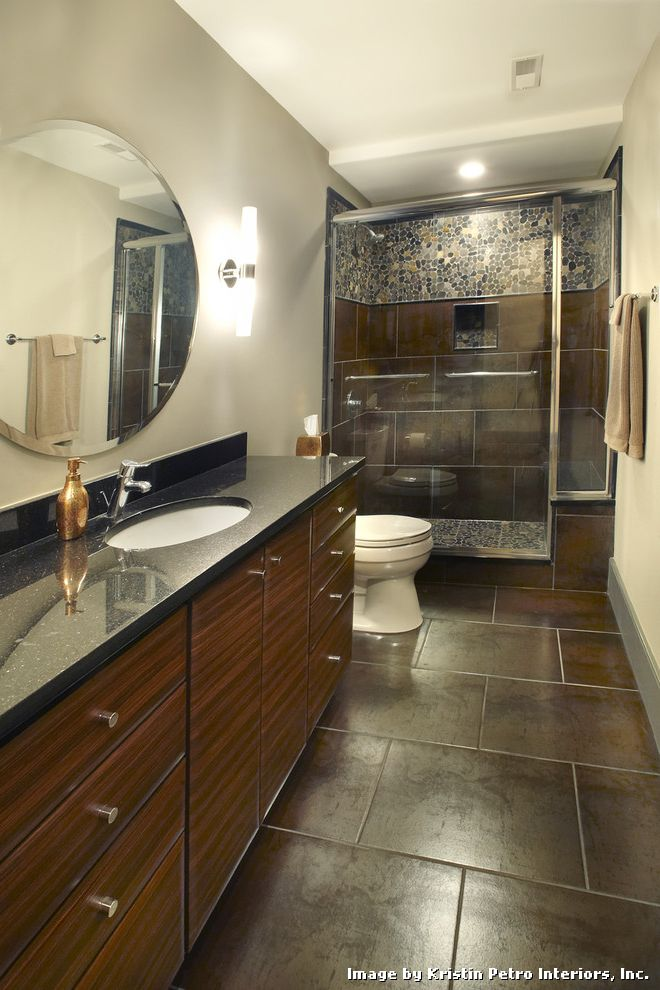 Tiling a Shower Floor or Wall First with Eclectic Bathroom and Granite Metallic Mosaic Pebble Polished Rosewood