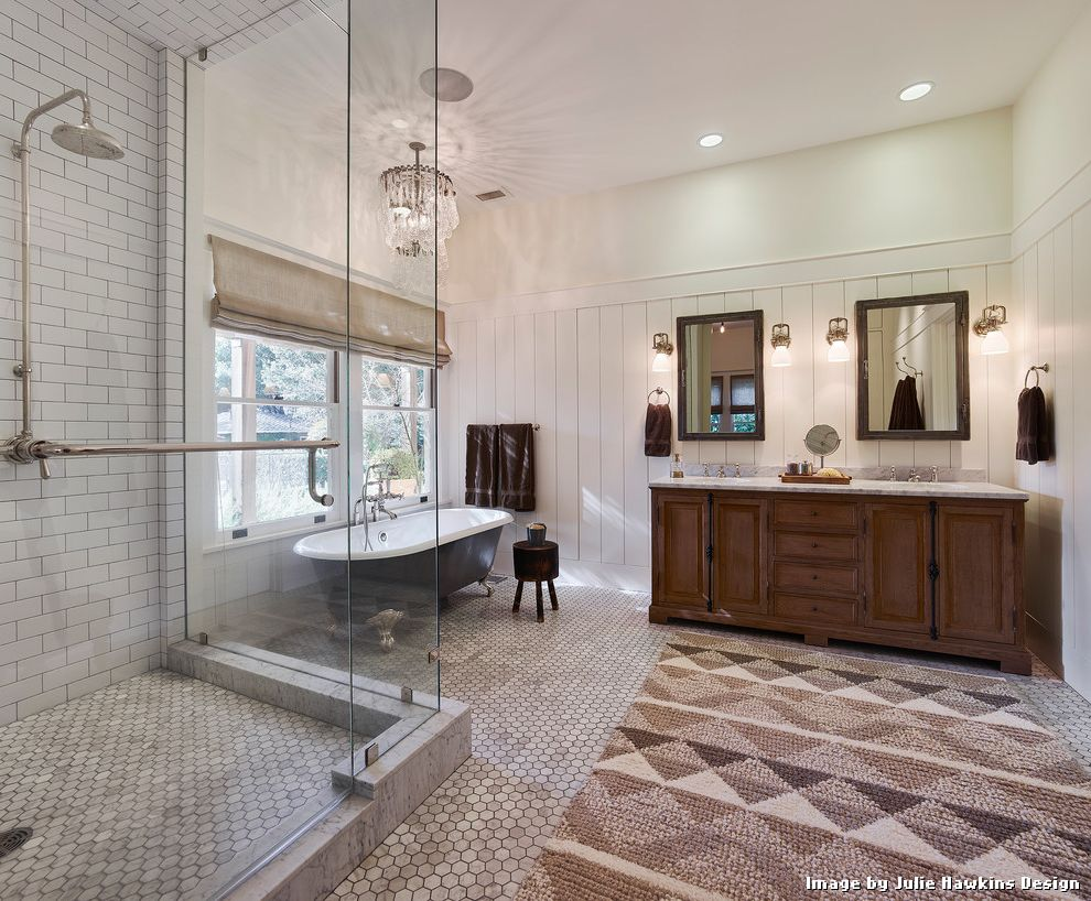 Tiling a Shower Floor or Wall First with Traditional Bathroom and Traditional