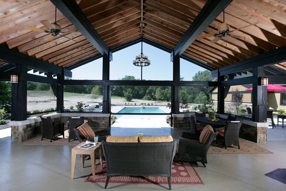 Timber Frame Pavilion Kits   Contemporary Porch  and Back Candelabra Ceiling Fans Concrete Covered Porch Outdoor Rug Patio Pool Stone Wall Timber Frame Wicker Furniture Wood Beams