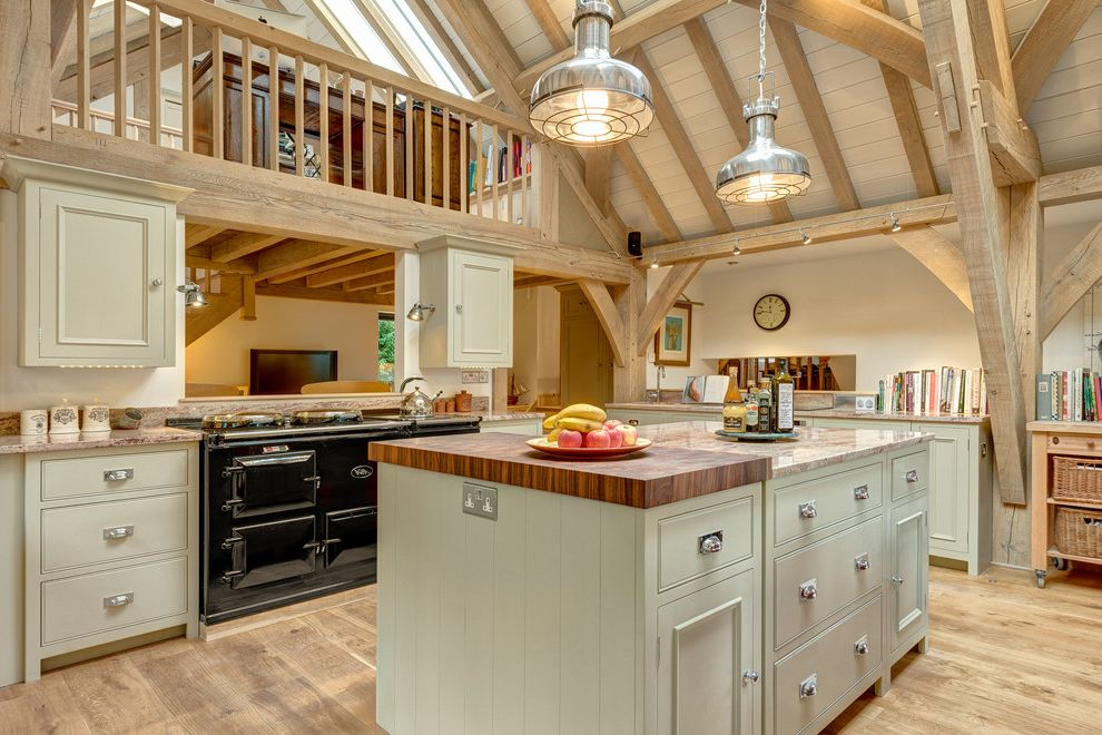 Timber Frame Pavilion Kits   Traditional Kitchen Also Balcony Beige Bin Pulls Cookbooks Cup Pulls Integrated Kitchen Kitchen Island Pendant Lights Rough Hewn Timber Frame Track Lighting Track Lightings Vaulted Ceiling Wall Clock Wood Floor