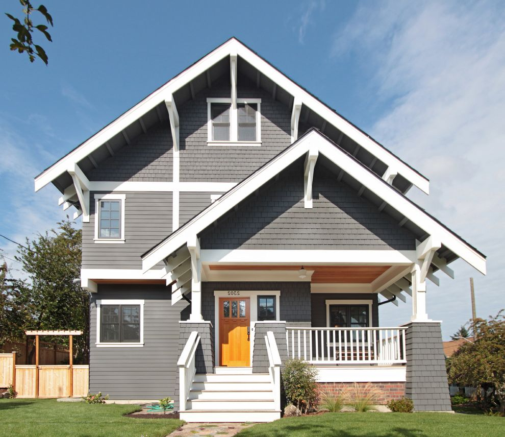 Timbertech Decking Colors   Craftsman Exterior Also Craftsman First Lamp Gray Exterior Gray Shingles Gray Siding Grey Kevin Witt Roof Overhang Seattle Shingles Taylor Callaway Trellis White Molding White Pillars White Railing White Staircase White Trim