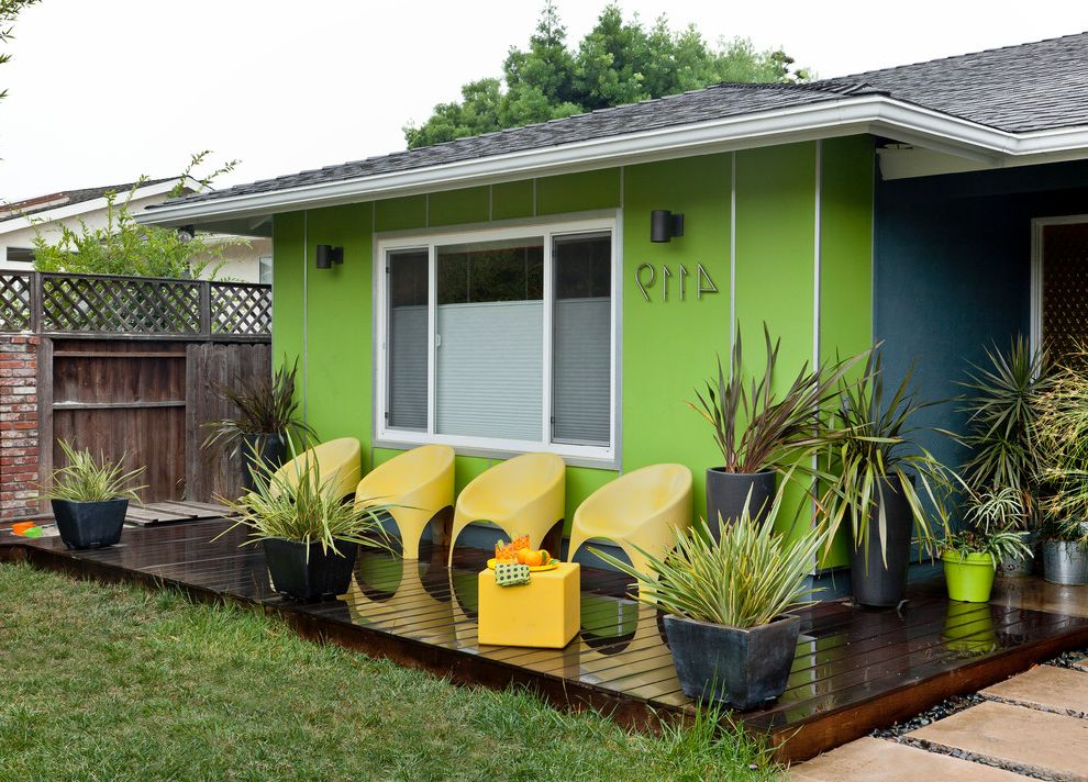 Timbertech Decking Colors with Midcentury Deck  and Address Numbers Deck Exterior Lighting Fiber Baord Horse Tail Ipe Fence Lime Green House Mid Century Residential Remodel Molded Fiberglass Chair Pavers Retainer Wall River Rock