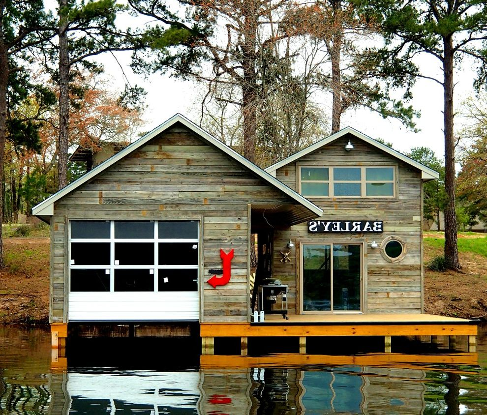 Tiny Home Builders Texas with Rustic Exterior Also Barley Boat Boathouse Dock Eclectic Signs Lake House Outdoor Pier Reclaimed Repurposed Reused Rustic Stand Up Paddle Board Texas Water Weathered Wood