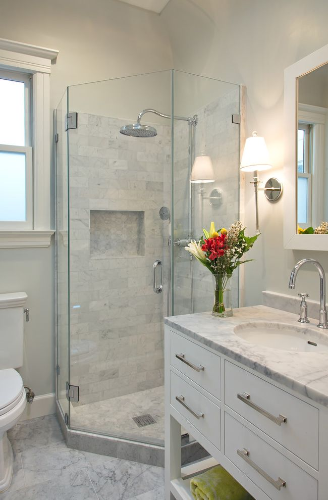 Tiny Shower Stall with Transitional Bathroom Also Bar Pulls Bridge Faucet Glass Shower Door Glass Shower Stall White Stone Countertop White Stone Tile Floor White Window Casement