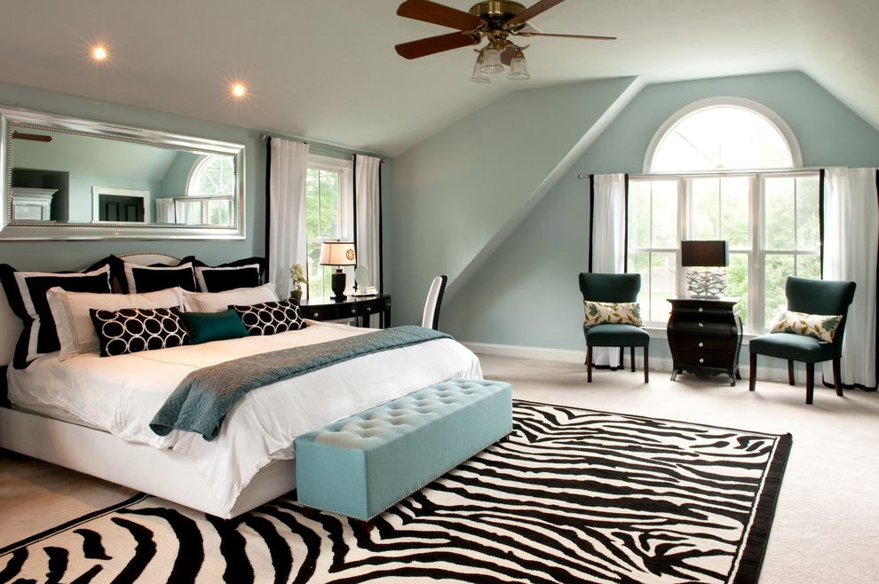 Tj Maxx Rugs   Traditional Bedroom Also Arched Window Attic Black and White Pillows Black and White Rug Ceiling Fan Fan Window Light Blue Bench Light Blue Walls My Houzz Rectangular Mirror White Bed White Curtains Zebra Print Rug