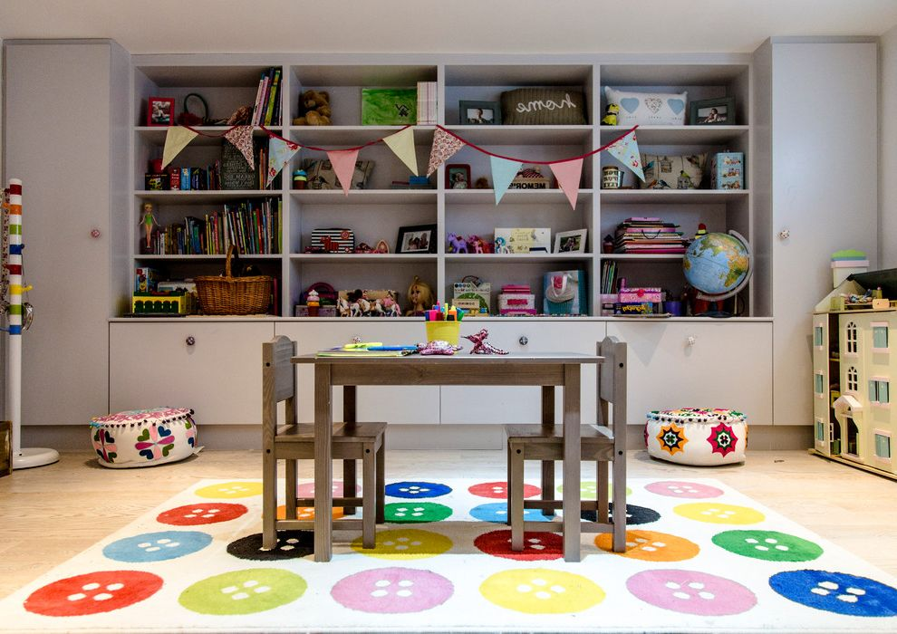 Tj Maxx Rugs   Traditional Kids Also Books Built in Shelves Bunting Button Rug Colorful Playroom Kids Storage Kids Table Kids Wood Desk Light Wood Floors Multicolor Rug Toy Storage Toys
